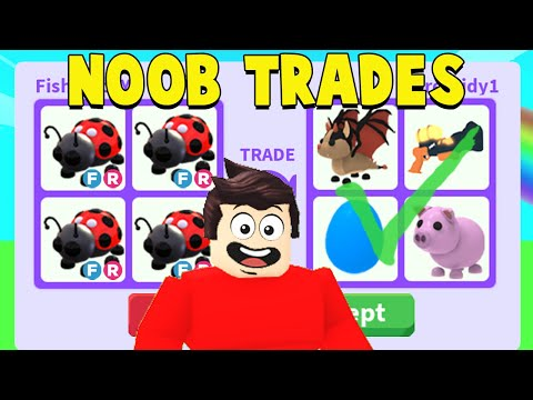 Poor NOOB Opens AND Trades 100 LADYBUGS (ADOPT ME TRADES)