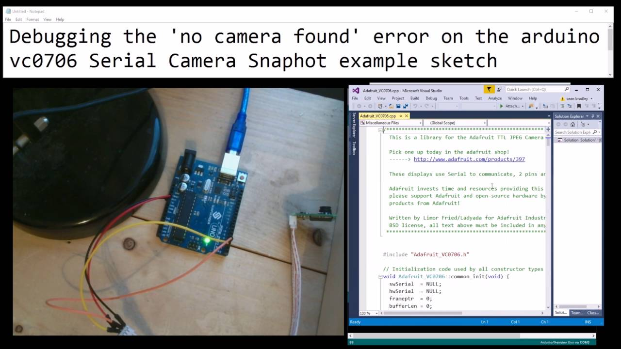 Debugging the 'no camera found' error on the arduino vc0706 Serial Camera  Snaphot example sketch