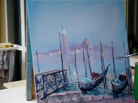 Tutorial painting video of venice misty romantic scene