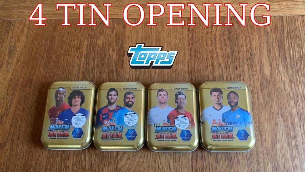 2020 Mega Tin Card List.All 4 Mini Tin Opening Match Attax Champions 2019 2020