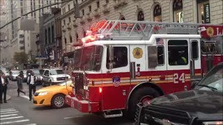 FDNY Ladder 24 Responding With Their Siren and Air Horn Blazing Because of Heavy Midtown Traffic
