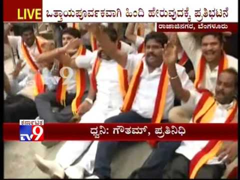 KRV Protest against Use of Hindi Sign Boards at Bangalore Metro Station