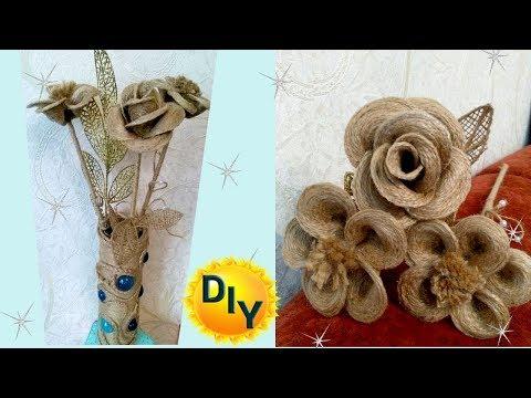 Как сделать цветок из мешковины