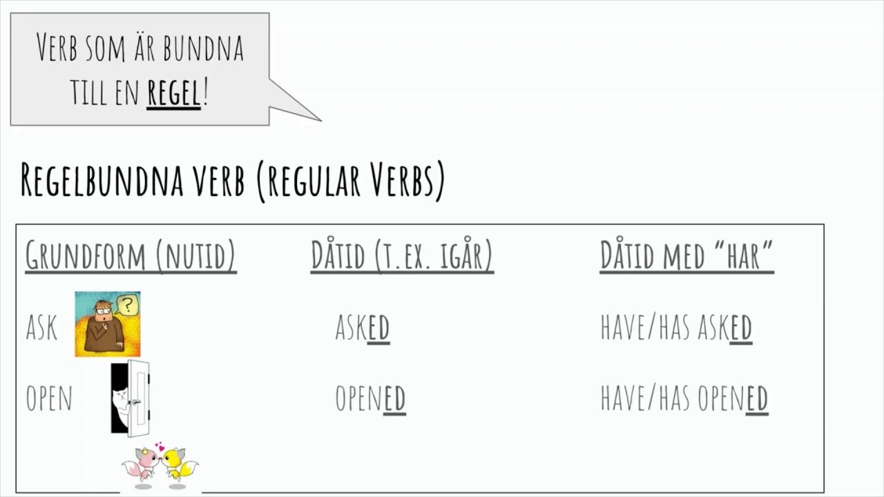 Engelsk grammatik: Regelbundna & Oregelbundna verb