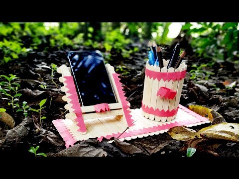HOW TO MAKE MOBILE PHONE HOLDER AND PEN STAND WITH ICE CREAM  STICK