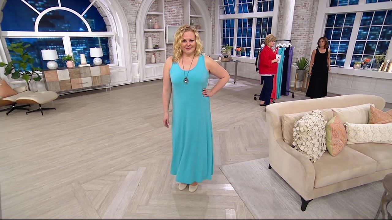 Susan Graver Liquid Knit Sleeveless Maxi Dress On Qvc Youtube