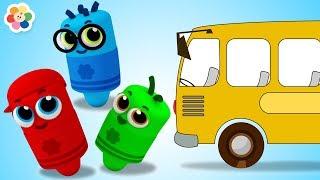 Las Ruedas del Autobús Azul - Canción con Pandilla de Colores | BabyFirst Español