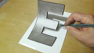 "Artattack drawing -HOW TO DRAW 3D ALPHABET ""E"""