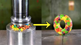 Can you turn Skittles Candy into Donut with the Hydraulic Press?