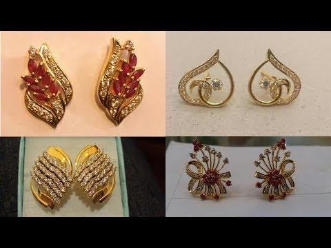 Stylish New Designer Gold Ear-STUDS with Stone