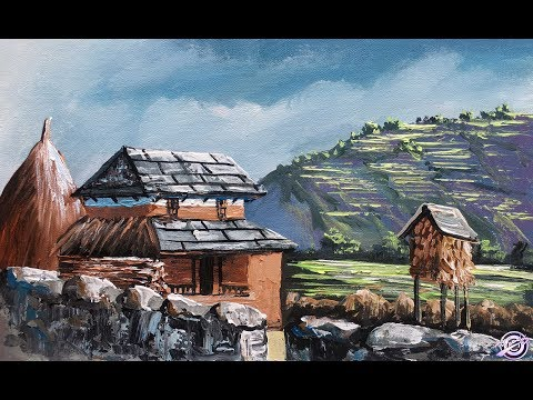Painting | Typical Nepali Village | Art Candy | Village Painting | Landscape Painting