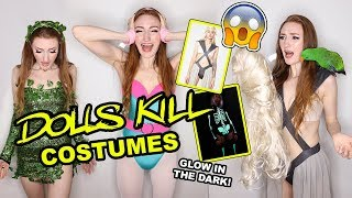 TRYING ON DOLLSKILL HALLOWEEN COSTUMES!!!  👻