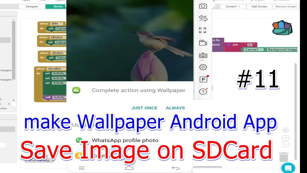 How To Make Wallpaper Android App In Thunkable Save Image On Sdcard Appinventor Wallpaper Tutorial