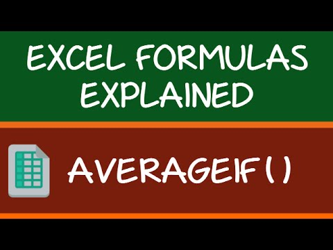 AVERAGEIF Formula in Excel