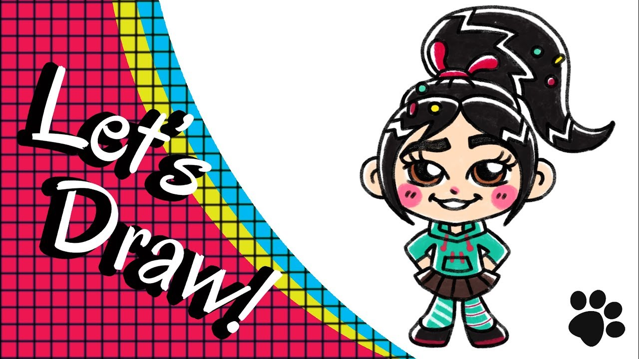 How To Draw Vanellope From Wreck It Ralph Step By Step Cute And