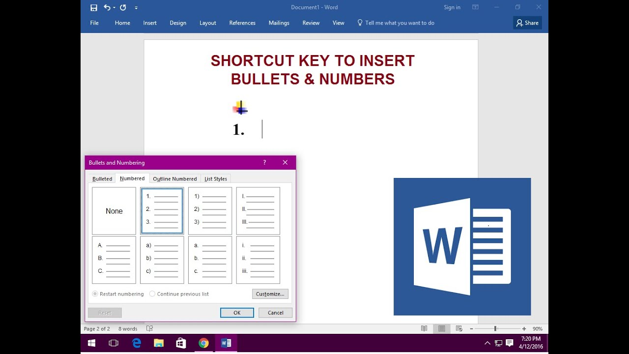 how to put numbering in word in shortcut