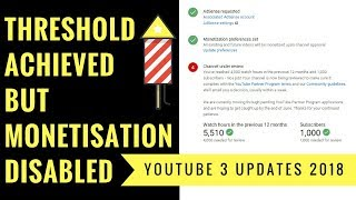 YOUTUBE First Threshold 2018 Achieved but Monetization Disabled ✌💥