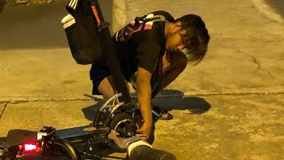 16mar2019 pmd escooter rider crash into another rider when riding on the road & beating red light