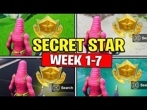 ALL SECRET BATTLE STARS Season 10 - Fortnite Week 1 To 7 Locations (SEASON X)