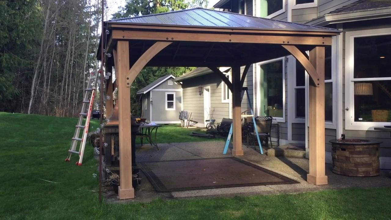 Pt. 3 Costco Yardistry 12x14 Wood Gazebo Final ASSEMBLY ... on Yardistry Backyard Pavilion id=17863
