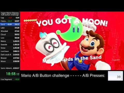 Super Mario Odyssey A/B Button Challenge (2:34:04.98) (215 A/B presses)