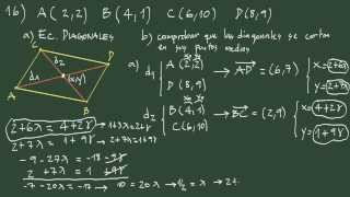 Ejercicio 16 geometría analítica: hallar las diagonales de un paralelogramo.