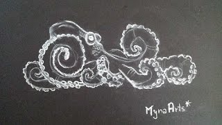 How to draw an Octopus on a black paper