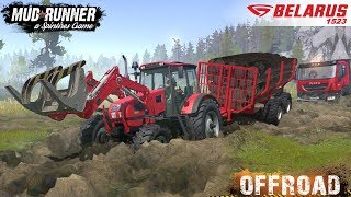 Spintires: MudRunner - BELARUS 1523 Tractor Tows Dump Truck Stuck in the Mud