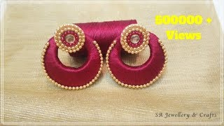 How to make Chandbali Silk Thread Earrings at Home !!
