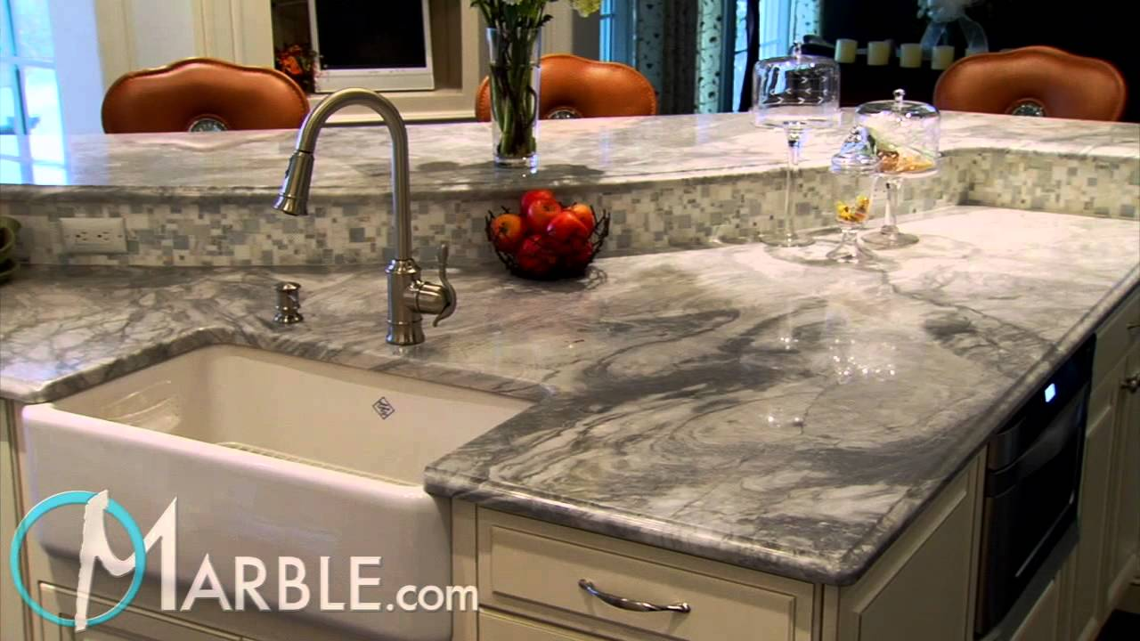 Exceptional White Vermont Marble Kitchen Countertops By Marble.com   YouTube