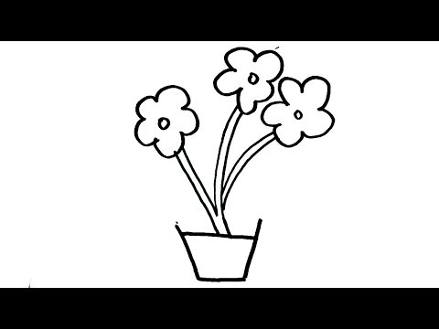 How to draw Flower Pot Drawing for kids | Easy Flower Pot Art Step by Step