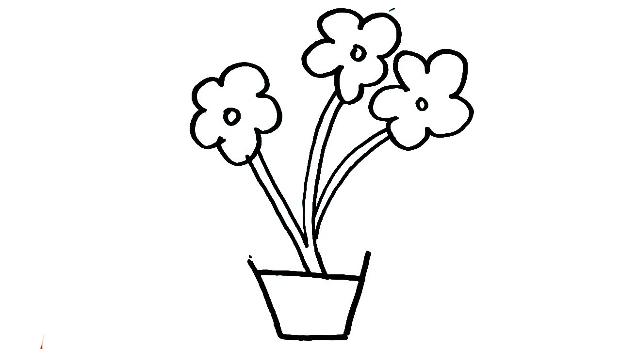 How To Draw Flower Pot Drawing For Kids Easy Flower Pot Art Step