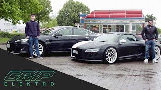 Car-Swap | Tesla Moḋel S vs. Audi R8 Spyder | GRIP Elektro