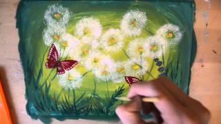 Как нарисовать одуванчики красками. Пошаговый видео-урок по рисованию