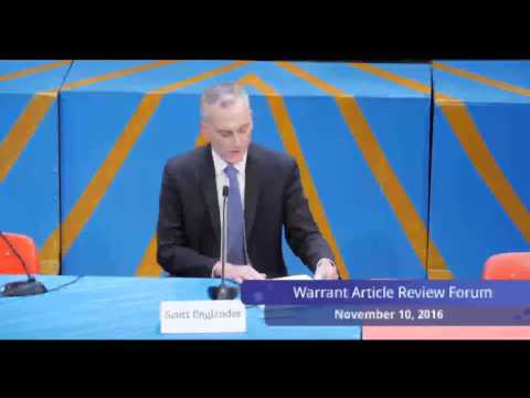 Town Meeting Warrant Article Review Forum 11/10/16