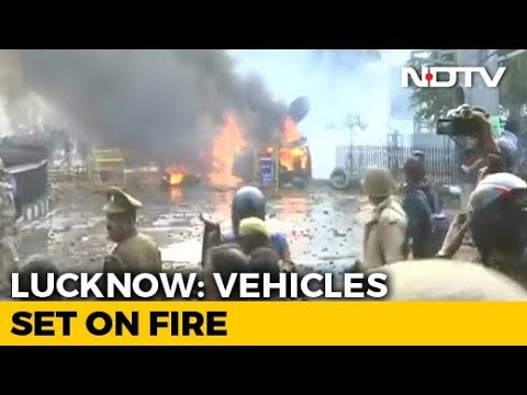 Citizenship Act Protesters In Lucknow Set Fire To Police Post; Tear Gas Used