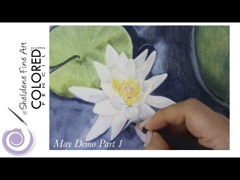 LIVE DEMO    Water Lilly - Colored pencil magazines May Challenge