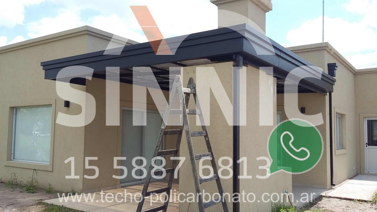 Pergola para parrilla policarbonato sinusoidal youtube for Techos de policarbonato para balcones