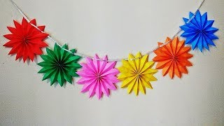 DIY - Paper Star Garland for Party Decorations ( Birthday / Christmas / Diwali )