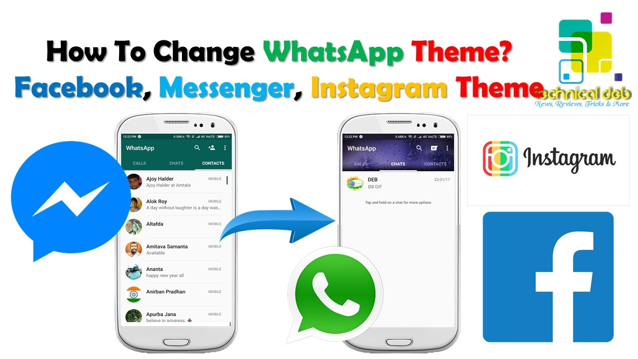 how to change whatsapp theme change facebook messenger instagram themes