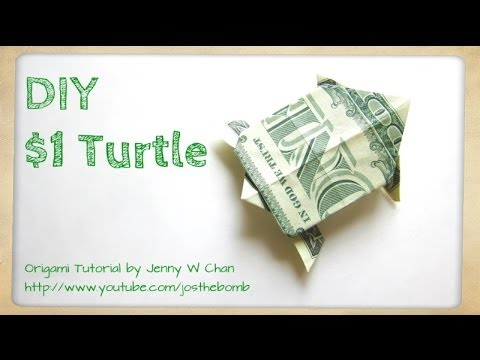 How To Fold Money Origami Turtle 1 One Dollar Turtle Dollar