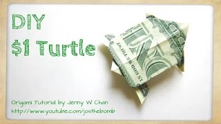 Diy How To Fold Money Origami Turtle - $1 One Dollar Turtle - Summer Crafts Kids