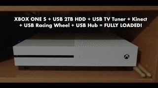 Xbox One S Fully Loaded Setup - External HDD, Kinect, TV tuner, Racing Wheel