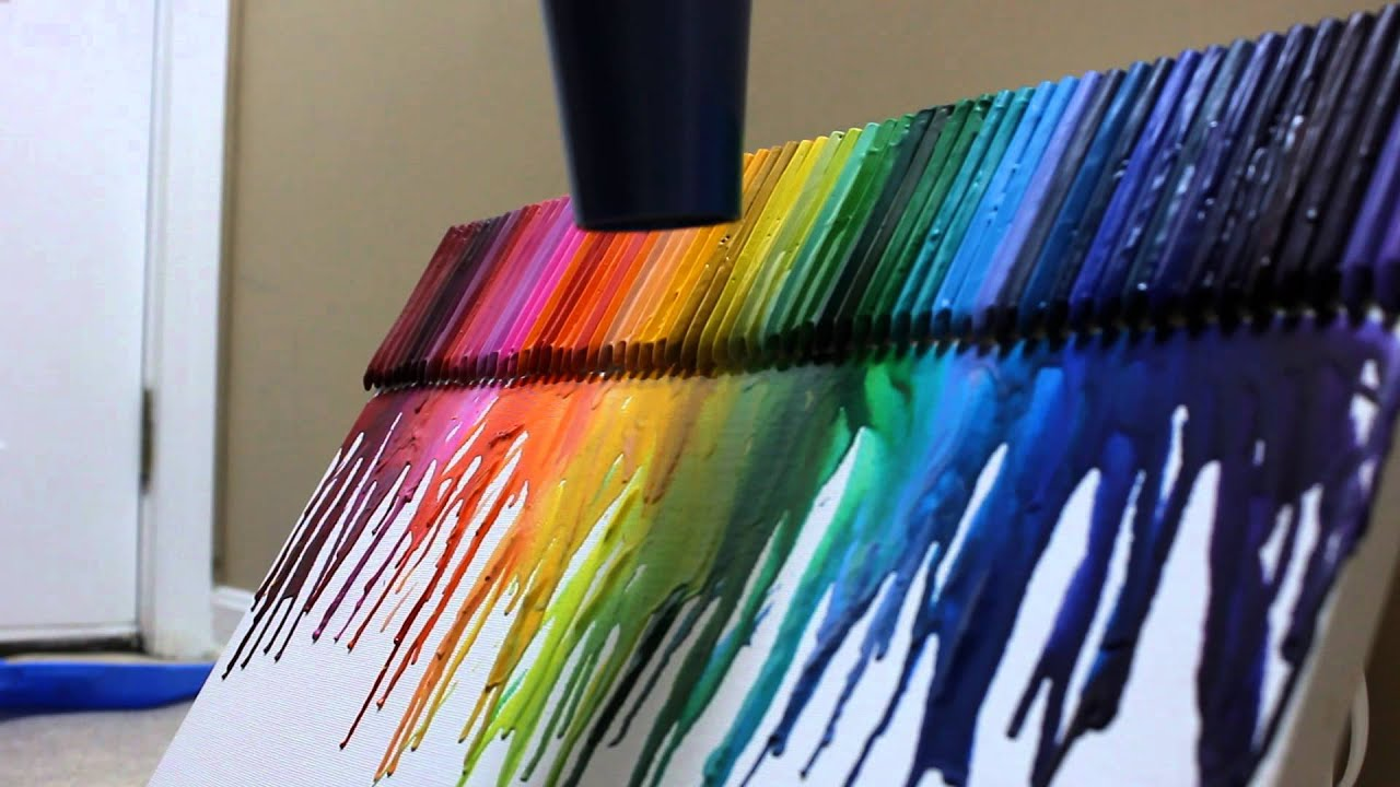 Awesome crayon melt on canvas youtube for How to melt crayons on canvas