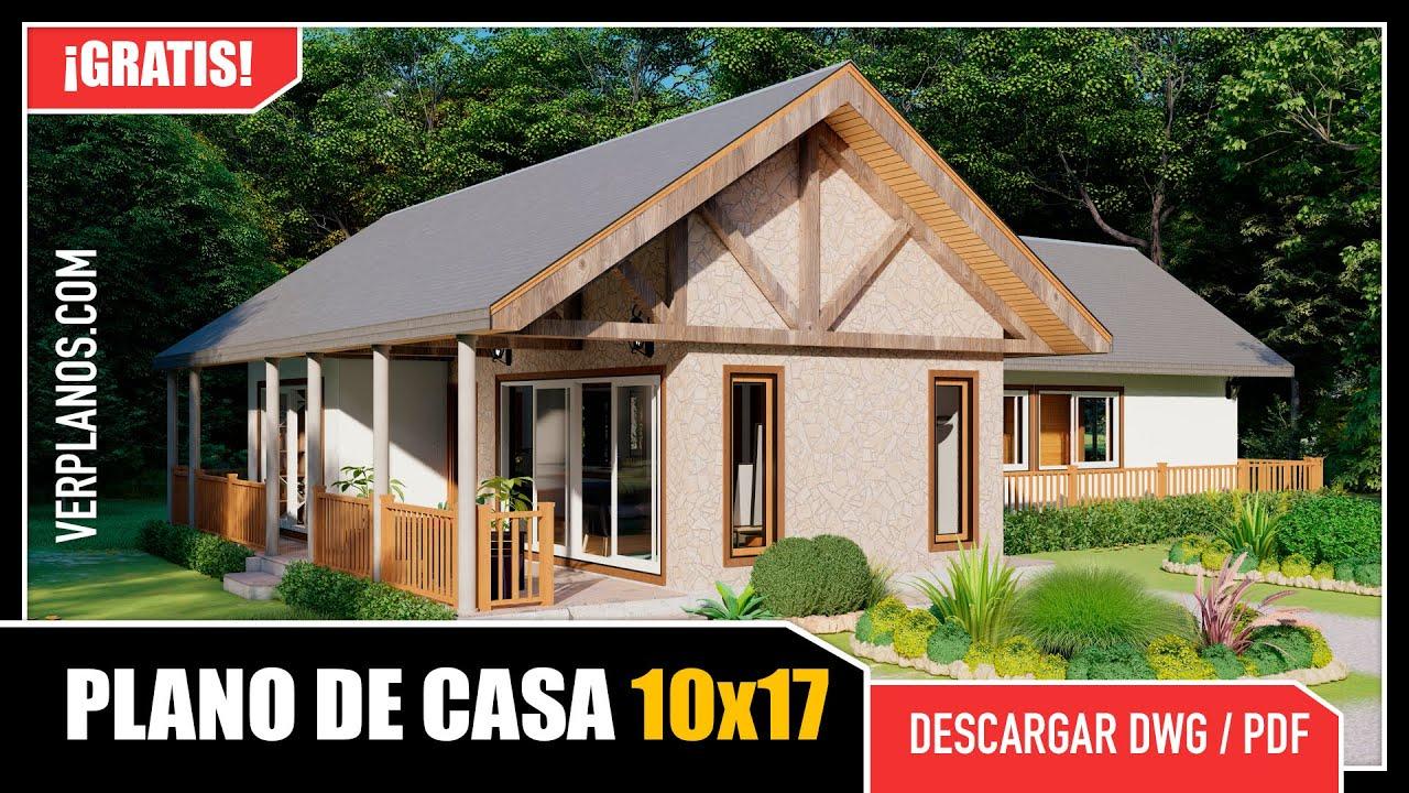 """✅ Plano de Casa de Campo con forma de """"L"""" 【 2 Dormitorios 】"""