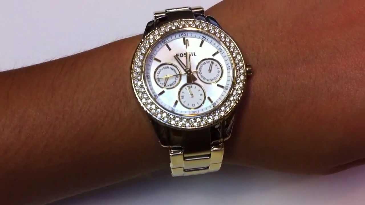 women 39 s gold fossil stella glitz watch es2861 youtube. Black Bedroom Furniture Sets. Home Design Ideas