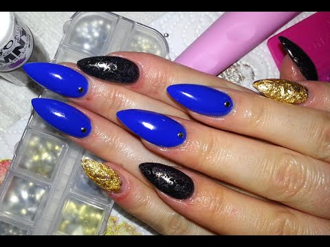 Blue Vs Gold Almond Shaped Acrylic Nails