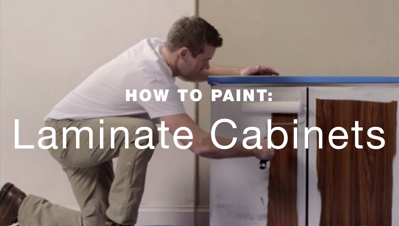 How to paint laminate kitchen cabinets youtube for How to spray paint doors