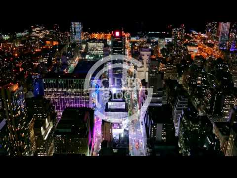 Aerial Drone Footage Illuminated Cityscape Skyscrapers Manhattan New York City Modern Tourism Night