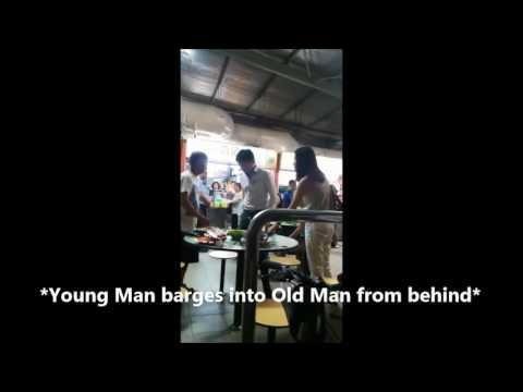 Couple bullies old man at Singapore Hawker - WITH CAPTIONS